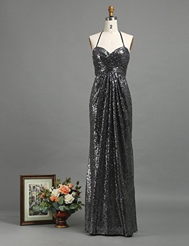 (Long Sequin Bridesmaid Dress Dark Silver Sheath Strapless Sweetheart Gray Special Occasion)