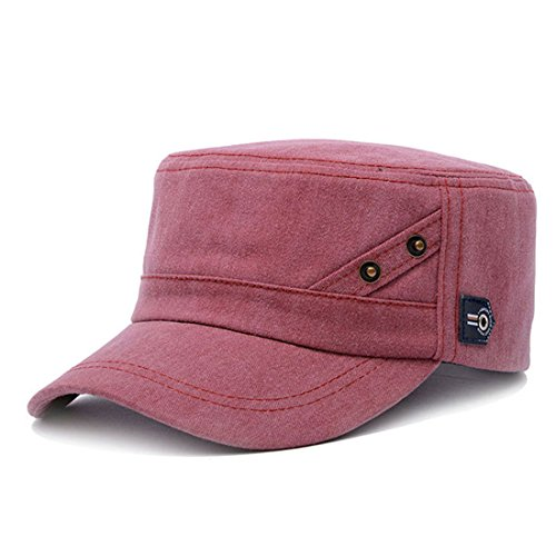 King Star Men Women Adjustable Army Plain Vintage Hat Cadet Military Baseball Cap Wine Red
