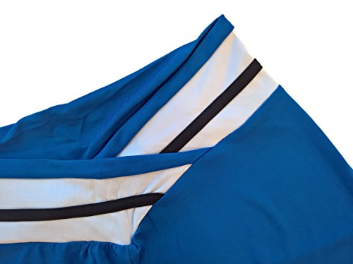 SODACODA feste Leggings Laufhose für Frauen - Fitnessstudio, Yoga oder Pilates, Reisen und Trekking - mit Attraktive V-förmiger Bund (Blau und Weiss L/XL)