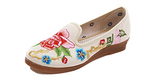 Four Crown Oxford - Tianrui Crown Women and Ladies Peony Embroidery Sandal Shoe Slip-on Loafer Flat Shoe Beige