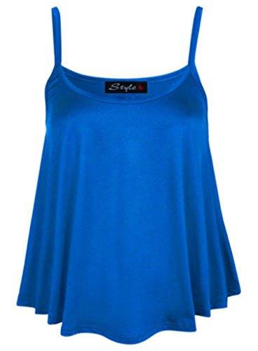 Chaleco liso de cintura acampanada para mujer, talla grande 36-54 azul real