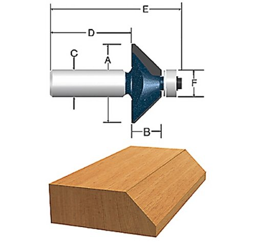 Bosch 85298MC 1-5/16 In. x 45° Carbide-Tipped Chamfer Router Bit Carbide Tipped Chamfer Bit