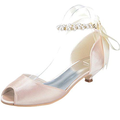 Loslandifen Femmes Peep Toe Perle Cheville Sangle Avec Ruban Mi-talons Chaussures De Mariage Du Soir Champagne