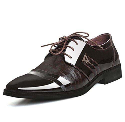 WSK Scarpe stringate Derby da uomo Scarpe eleganti in pelle da uomo Scarpe casual da uomo da uomo Scarpe grandi brown