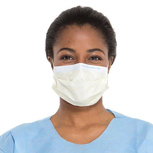 Kimberly-Clark Procedure Mask (47117), Pleated, Ear Loops, Yellow, 50 Masks / Dispenser - Nosepiece Yellow
