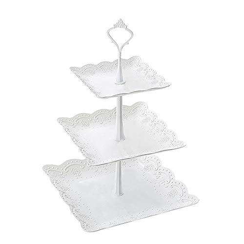 PP Plastic Square 3 Tier Cupcake Display Stand Fruits Deserts Tray for Party Afternoon Tea PP Material by FUNZON FH003 Cupcake Stand