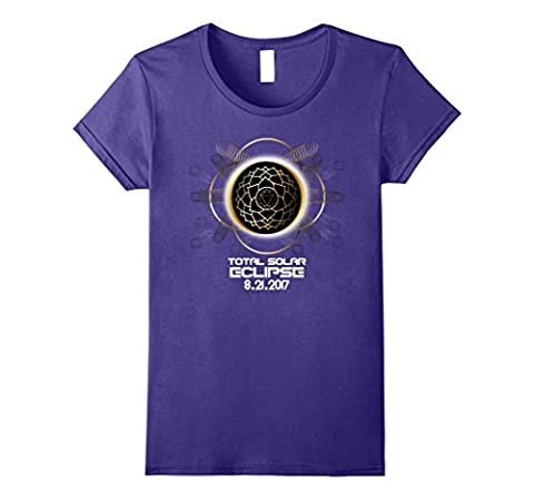 Womens Total Solar Eclipse 2017 Sacred Geometry Tshirt Large Purple (Eclipse Couture)