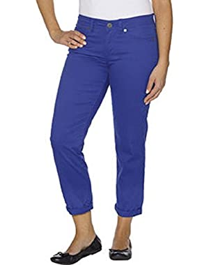 Calvin Klein Womens Power Stretch Skinny Cropped Pants 14 Blue