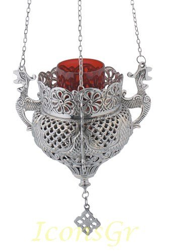 Orthodox Greek Christian Bronze Hanging Votive Vigil Oil Lamp with Chain and Red Glass - 9688n by Iconsgr