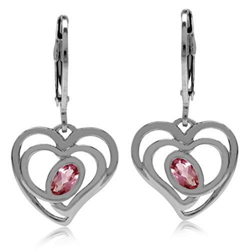 Natural Pink Tourmaline White Gold Plated 925 Sterling Silver Heart Leverback Dangle - Earrings Tourmaline Pink