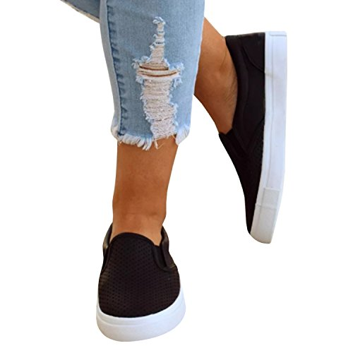 Sneakers Black Fashion Flat Womens Slip Casual on Shoes Pxmoda Cushioned Pinhole Loafers qBIf5xxwPn