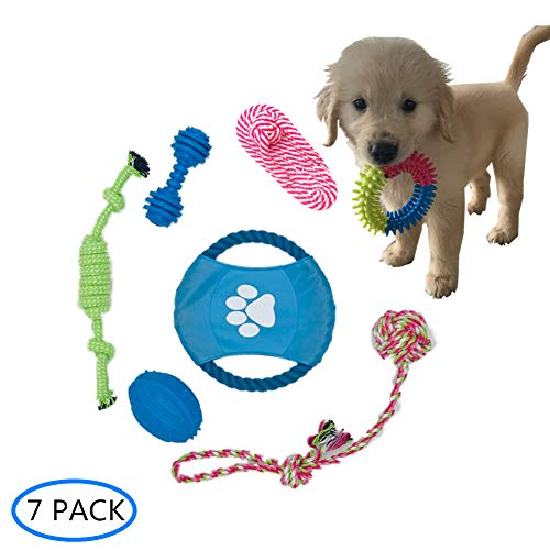 PETOYO Puppy Chew Toys, Dog Teeth Cleaning,Cotton Rope Toys,Washable Material,Chew Rope Toys,for Small and Medium Dog,Puppy Gift (7PACK) ()