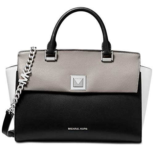 Michael Kors Sylvia Tri-Color Crossgrain Leather Satchel Bag, Pearl Grey ()