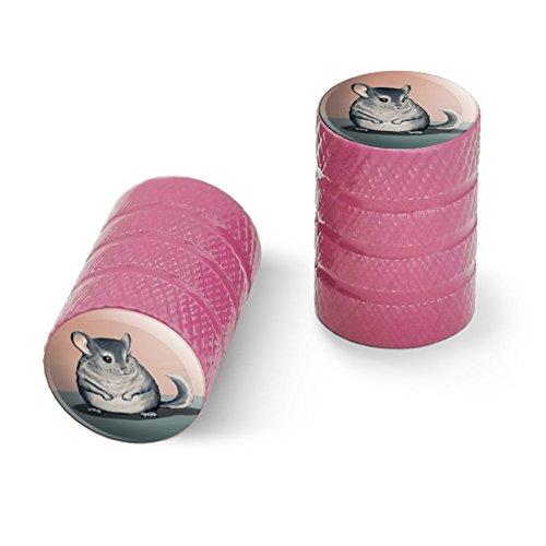 オートバイ自転車バイクタイヤリムホイールアルミバルブステムキャップ - ピンクかわいいチンチラ