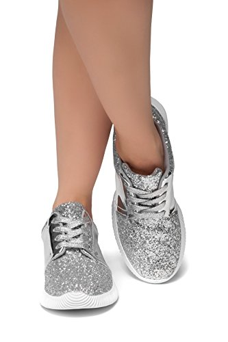 Silver Women Sneakers (Herstyle Women's Magor Kick - Glitter Sneaker With Lace Upper Silver 10)