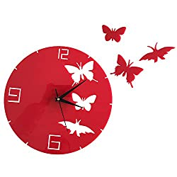 Happy Hours - Stylish Butterfly Mirror Wall Clock / Creative DIY Acrylic Home Decor Watch / 3D Frameless Wall Sticker Design Bell for Cafe Bedroom Living Room Dormitory(Red)