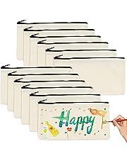 10 stycken gör-det-själv blank tygpåse, sminkväska för duk, tygpennfodral, sminkväska för resor, med dragkedja, för småpengar, kosmetika, hantverk, skrivmaterial (21 x 13 cm)