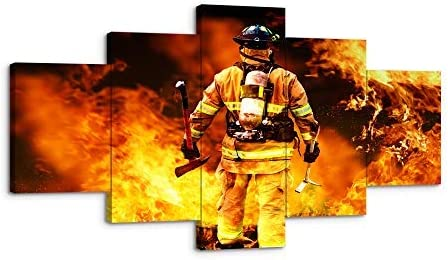 Amazon Com Viivei Large Firefighters Fireman Canvas Wall Art Prints Home Decor Decals Gifts For Living Room Modern Pictures Artwork 5 Panel Large Posters Hd Printed Painting Framed Ready To Hang 50 Wx24
