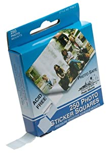 Pioneer Photo Squares Self-Adhesive, 250-Pack, White, 1/2-Inch