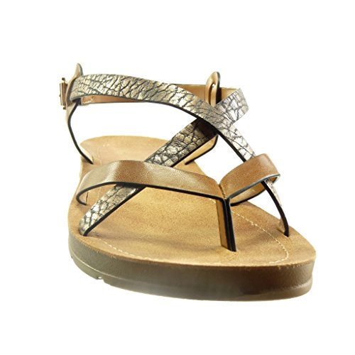 Angkorly Women's Fashion Shoes Sandals - Platform - Studded - xooden - Shiny Wedge Platform 2 cm Camel WZ2nhMlmW