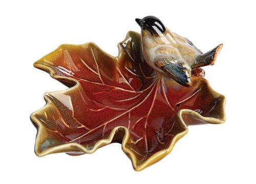 Creative Co-Op Small Maple Leaf Dish with Bird