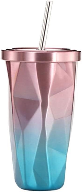 KEISL - Vaso con Pajita y Tapa de Acero Inoxidable, Reutilizable, con Degradado de Color