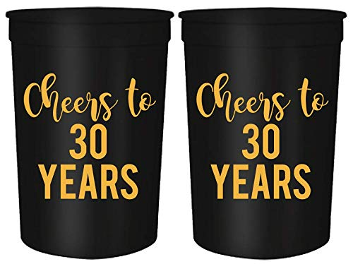 Cheers to 30 Years, 30th Birthday Party Cups, Set of 12, 16oz Black and Gold Stadium 30th Birthday Cups, Perfect for Birthday Parties, Birthday Decorations]()