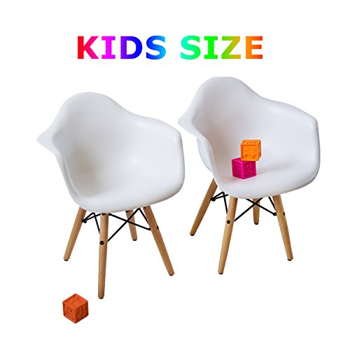 Buschman Set of Two Kids Mid Century Modern Dining Room Wooden Legs Chairs, Armchairs, White