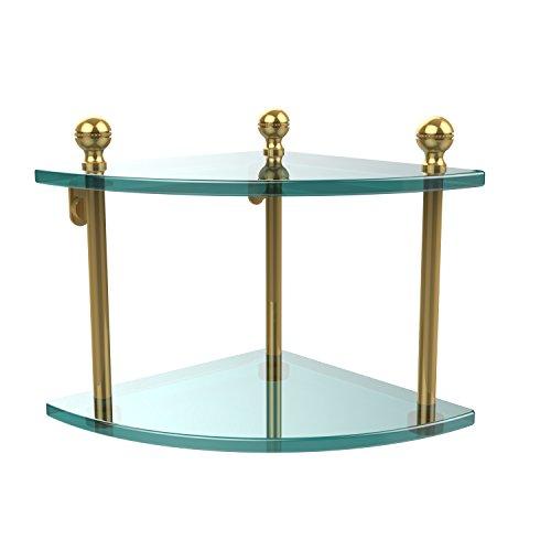 Allied Polished Shelf - Allied Brass MA-3-PB Mambo Collection 2 Tier Corner Glass Shelf Polished Brass