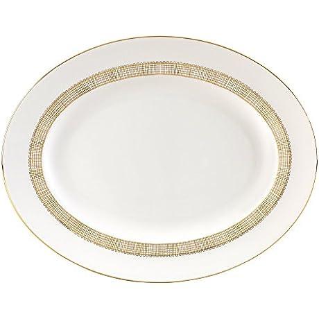 Wedgwood Gilded Weave Oval Platter 13 75