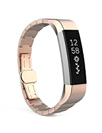 "Fitbit Alta HR and Alta Bands, MoKo Stainless Steel Replacement Smart Watch Band Wrist Strap Bracelet with Butterfly Buckle Clasp for Fitbit Alta / Fitbit Alta HR, Fits 5.11""-8.07"" Wrist, Rose Gold"