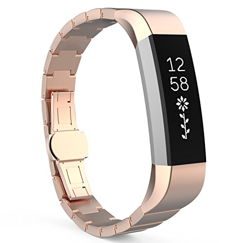 MoKo Fitbit Alta HR and Alta Band, Stainless Steel Replacement Smart Watch Wrist Strap Bracelet with Butterfly Buckle Clasp for Fitbit Alta / Fitbit Alta HR, Fits 5.11''-8.07'' Wrist, Rose Gold by MoKo
