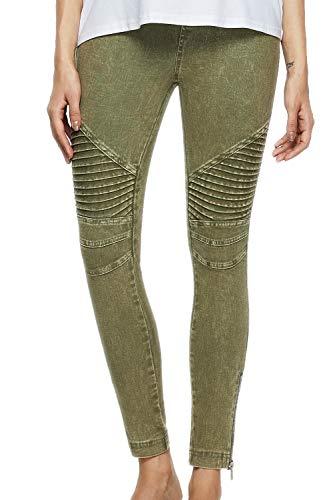 - SENSERISE Womens Skinny Stretch Pleated Ankle Zipper Pencil Moto Pants Jeggings (Army Green,Medium)