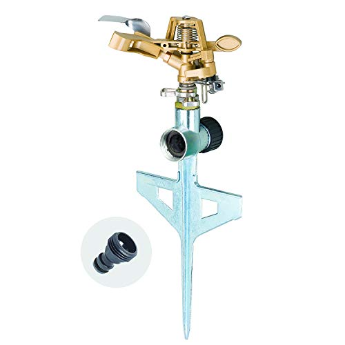Melnor 65053-AMZ Pulsating Sprinkler on Metal Step Spike with QuickConnect Product Adapter Set, Silver, Gold, Black
