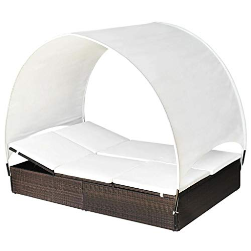 Patio Outdoor Sun Lounger Comfortable Durable Frame Wicker Poly Rattan Solid Pool Sun Bed Elegant Garden Day Bed 2 Person Canopy (Brown)