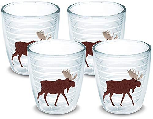 Tervis 1017650 Moose Tumbler with Emblem 4 Pack 12oz, Clear