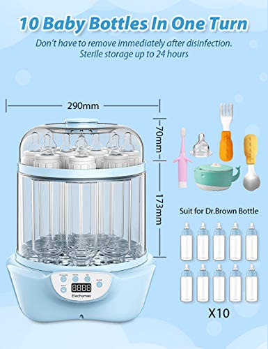 41XCENM69uL - Baby Bottle Sterili-zer And Dryer, Elechomes Electric Steam Sterili-zer, Super Large Capacity 600W Fast Bottle Warmer With LED Display, Auto Shut Off, BPA-Free
