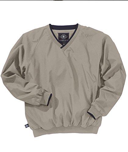 Charles River Apparel Men's V Neck Collar Windshirt, Light Khaki/Navy, 5XL (Adult V-neck Windshirt)