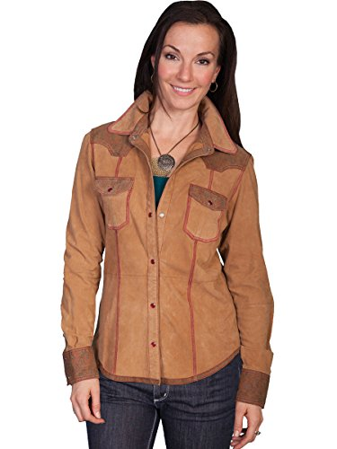 Scully Women's Leather And Suede Shirt Jacket Tan X-Small