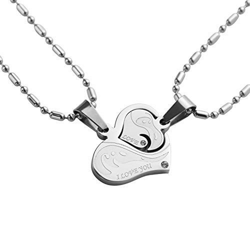 Love Heart Puzzle Necklace Pendant For Couples Stainless Steel Ponerine