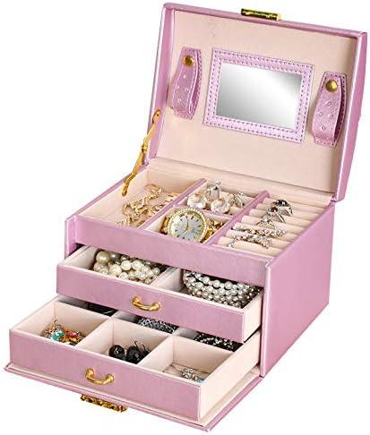 Cofre Caja Para Joyas Que Se Puede Cerrar Bajo Llave Beige Negro Rosa Elegante Chic 6347, Farbe/Color:Rosa/pink: Amazon.es: Belleza