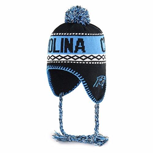 NFL Carolina Panthers Men's Abenaki OTS Sherpa Knit Cap with Pom, Team Color, One Size -