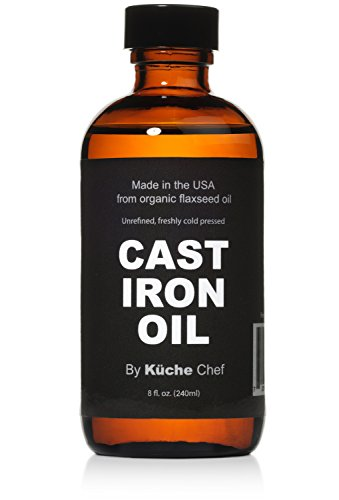 Organic Cast Iron Oil & Cast Iron Conditioner (8 oz) – Made from Flaxseed Oil grown and pressed in the USA – Creates a Non-Stick Seasoning on All Cast Iron Cookware
