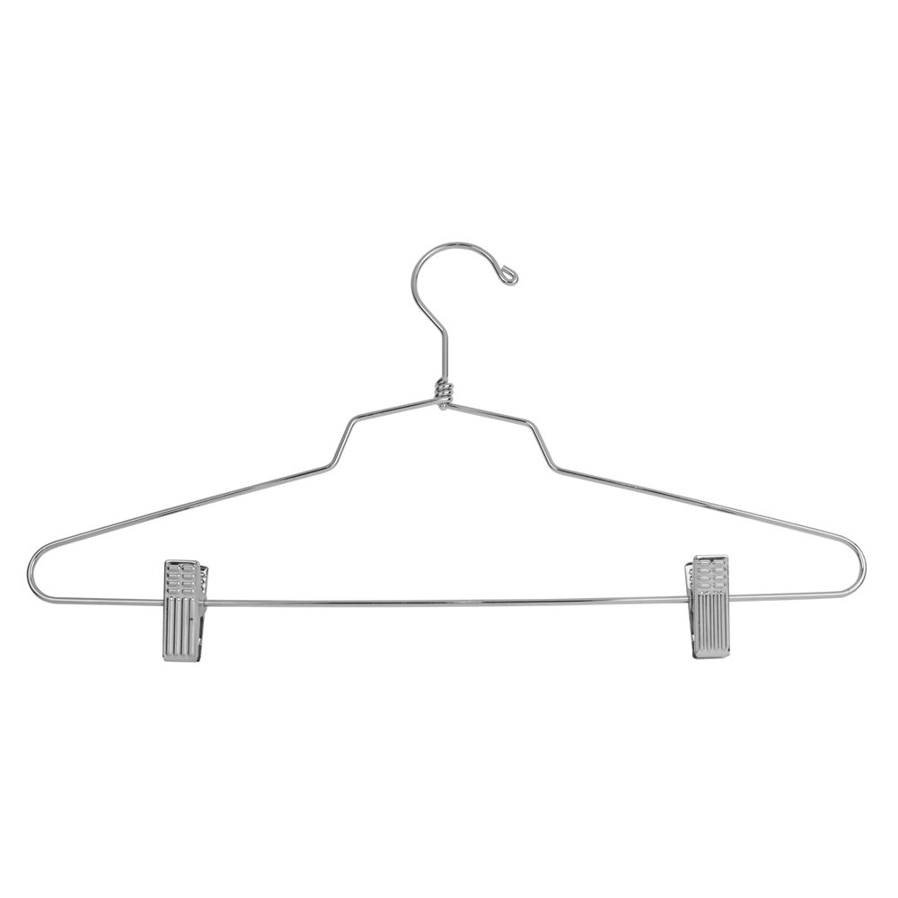 Econoco Commercial Combination Hanger with Vinyl Cushion Clips and Regular Hook, 16'', Steel (Pack of 100)