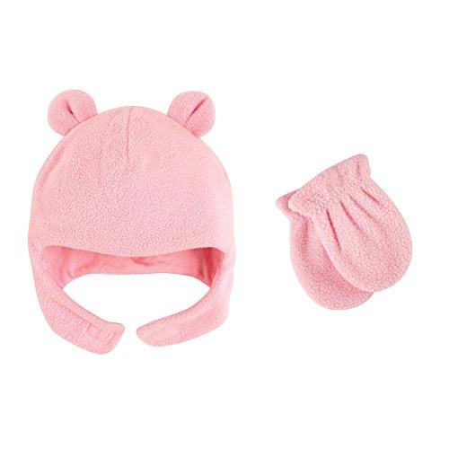 Luvable Friends Baby Infant Fleece Bear Hat and Mitten Set, Light Pink, 0-6 Months Fleece Winter Mitten