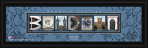 (Prints Charming College Campus Letter Art Personalized Bowdoin Campus Polar Bears Framed Posters 22x6 Inches)