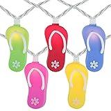 Set of 10 Multi-Color Flip Flop Summer Garden Patio Lights - White Wire Multi Color Plastic