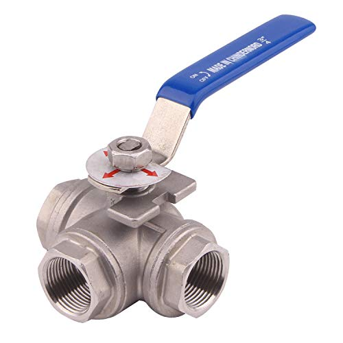 Dernord 3-Way Ball Valve, T Mounting Pad, Stainless Steel 304 Female Type with Vinyl Locking Handle (3/4 Inch NPT)