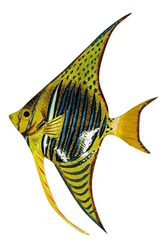 Tropical Bright Yellow Blue Striped Angel Fish Wall Hanger Bath Wall Decor