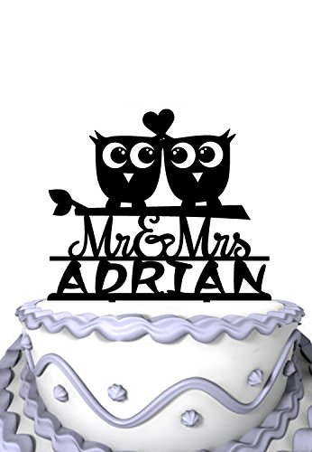 Meijiafei Personalized Wedding Cake Topper - 2 Night Owls with Heart Silhouette Customized Your Name (Owl Wedding Topper Cake)